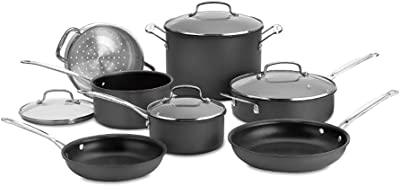 Cuisinart Chef's Classic 66-11 Nonstick Hard-Anodized Cookware Set with 3x Recipe Books Bundle (4 Items)