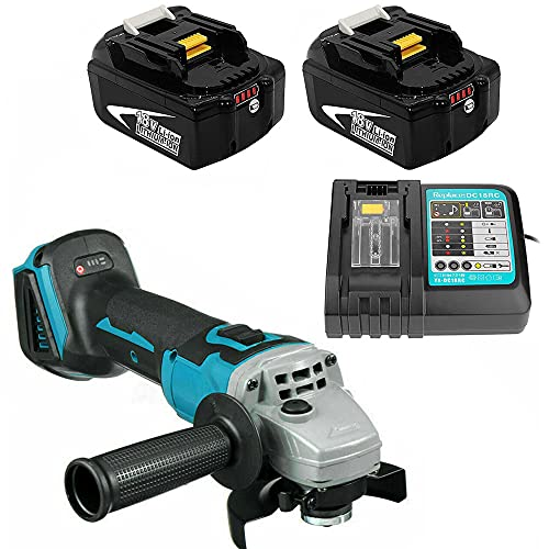 Angle Grinder 18V, 2X 5.0Ah Battery and Fast Charge for Makita Cordless Grinder Tool 125mm Grinder Disc 7500RPM, with Handle, Powered by Lithium-ion Battery Great for Grinding and Cutting