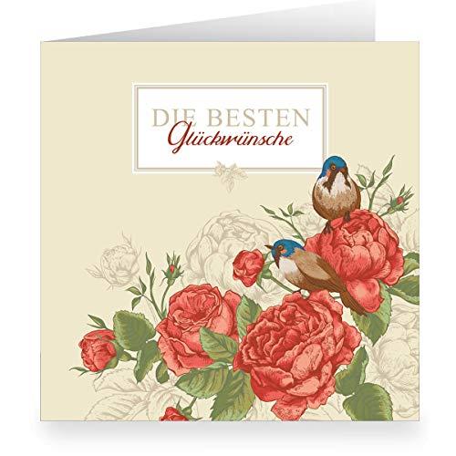 Prachtige rozen verjaardagskaart om te feliciteren (vierkant, 15,5 x 15,5 cm met envelopp) met vogels: De beste felicitaties - voor rente, jubileum, bruiloft 3 Grußkarten