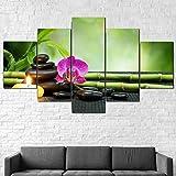 Cuadro Moderno En Lienzo 5 Piezas Feng Shui Zen SPA Massage Cuadro De Pintura Póster De Arte Moderno Oficina Sala De Estar O Dormitorio Decoración del Hogar Arte De Pared 200X100CM