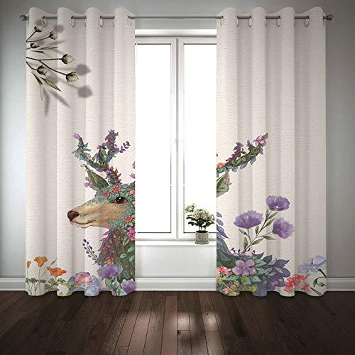 Kihomedy – Juego de 2 cortinas opacas térmicas, aislantes, ciervos y flores con hojas, cortina opaca para ventana infantil, color morado y verde