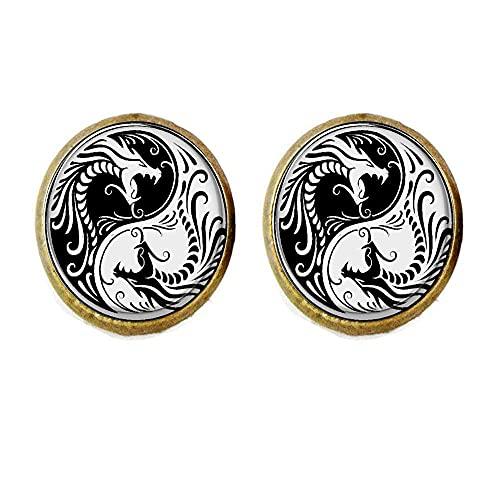 Ying y Yang Dragon Pendientes Pendientes redondos de cristal