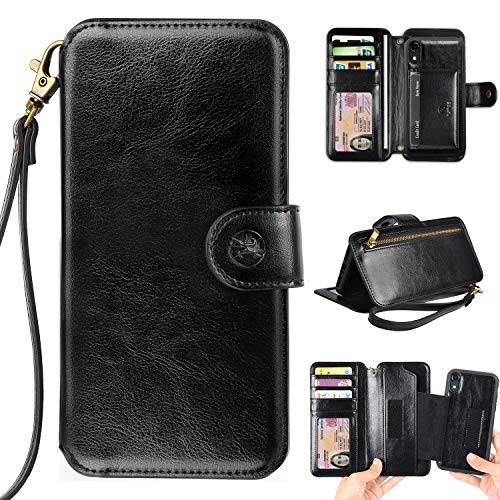 Phone Wallet Case Clutch Compatible with iPhone XR 6.1 Apple Phone - Wristlet Case Boutique Quality Vegan Leather Black - with Card Holder Clutch Purse