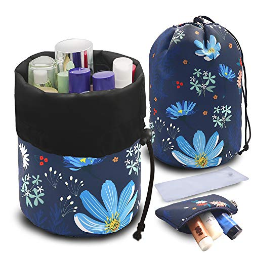 UYRIE Kosmetikbeutel Reise-Fass Kosmetiktasche, Damen Kulturbeutel Kordelzug Makeup Tasche (Blaue Blume)