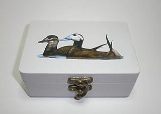 "Caja artesana decorada""Malvasías"", Malvasía cabeciblanca (Oxyura leucocephala), White-headed duck"
