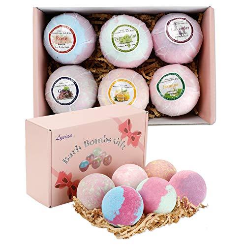 Badebomben Geschenk Set, Lyeiaa Badekugeln Geschenkset für Frauen, Ätherisches Öl, Badezusatz zum Befeuchten trockener Haut & Entspannen, 6 Stück mit verschiedene Duft, Tolle Geschenkideen