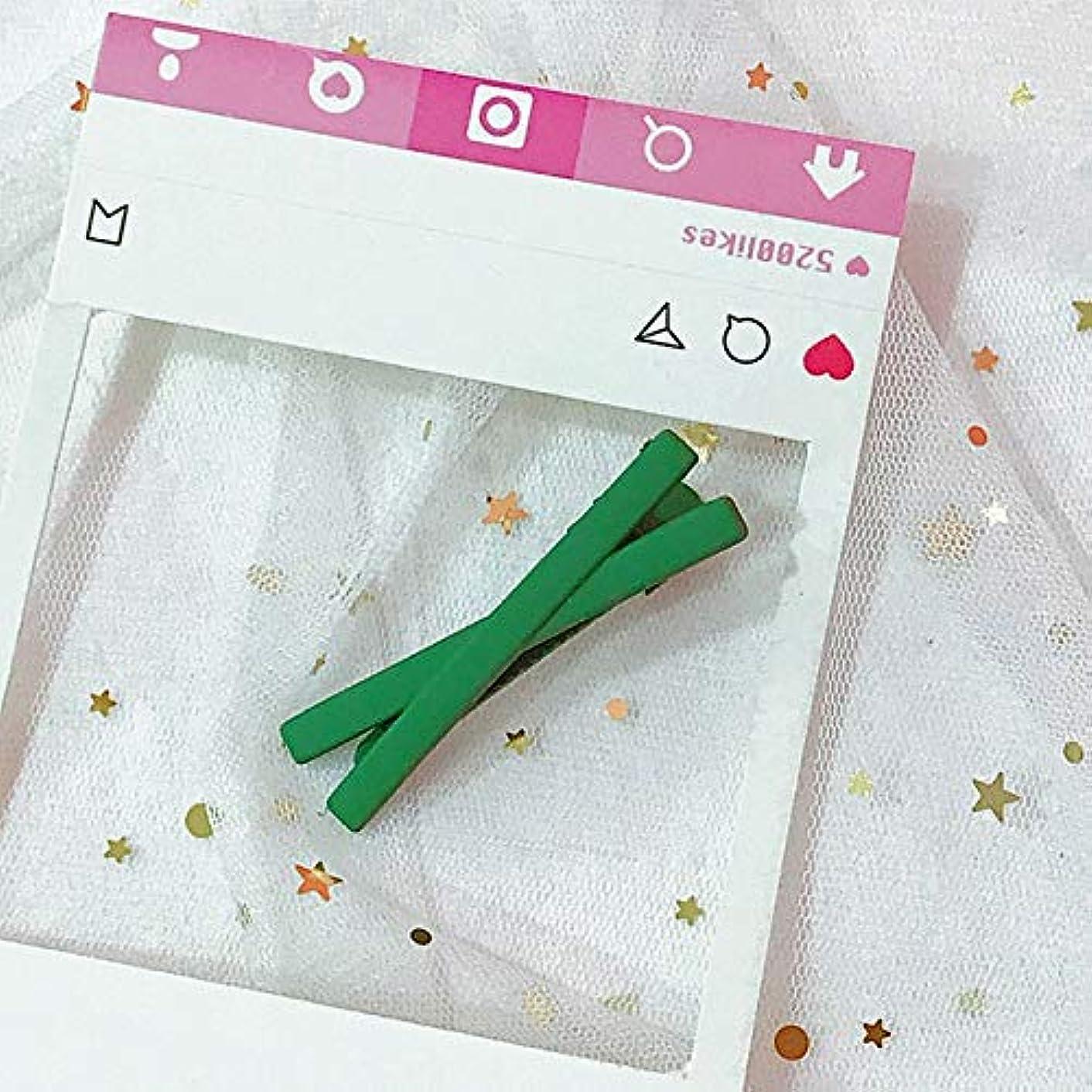 レキシコン拡張退屈HuaQingPiJu-JP ファッションシンプルなキャンディー色の子供のヘアピン便利なヘアクリップ(グリーン)