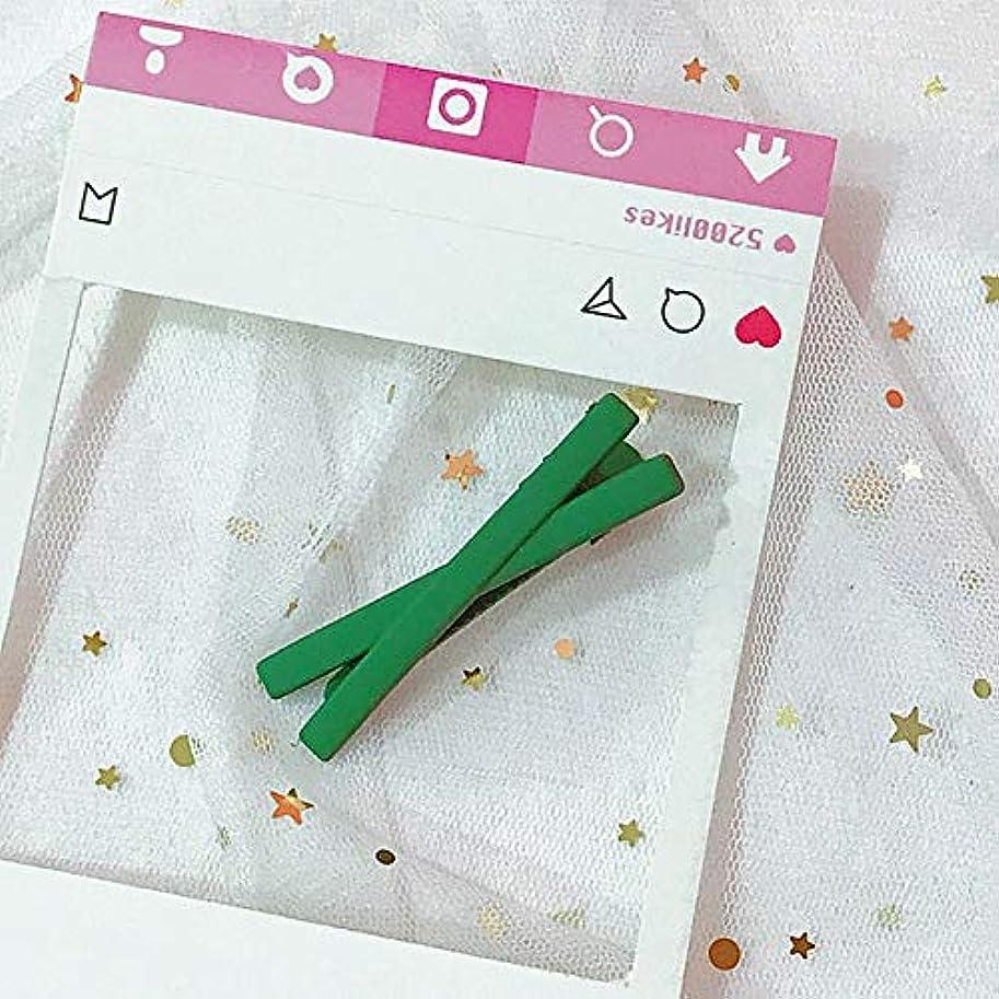 看板識別する測定可能HuaQingPiJu-JP ファッションシンプルなキャンディー色の子供のヘアピン便利なヘアクリップ(グリーン)