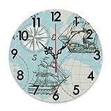 GEEVOSUN Reloj de Pared Redondo silencioso, sin tictac, Panel de Mapa de velero náutico, boceto de Barco Azul, Rueda de Barco Antiguo, brújula, decoración del hogar para Sala de Estar, Cocina, dormit