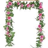 WANGIRL 4 Pack Guirnalda de Rosas Artificiales Flores Rose Garland Vides Colgantes Flores de Seda Guirnalda Plantas Artificiales para la Decoración del Jardín de la Boda del Hotel (Color : Pink 1)