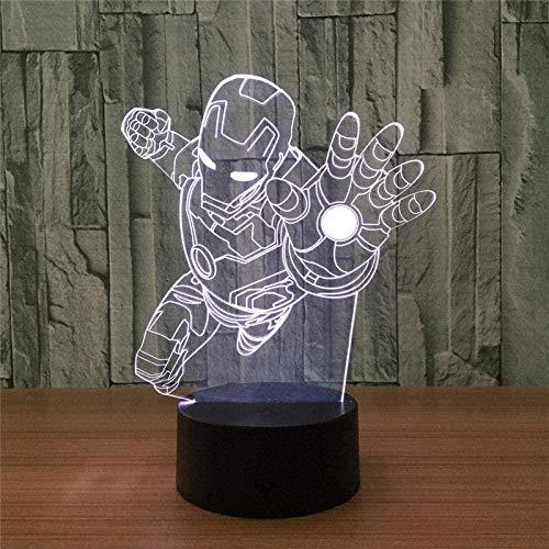 3D IllusionslampeLEDNachtlichtSuperheld Iron Man Touch LED Tisch Schreibtischlampe 7 Farbwechsel USB-Ladegerät Powered Touch Switch Schreibtisch Nachtlicht für Kinder Freunde Geschenk