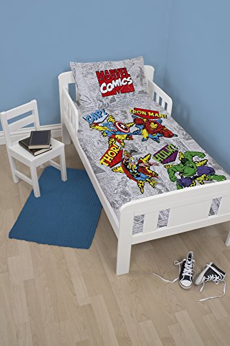 Marvel Junior Retro Comic Design Duvet Cover Set, Polyester-Cotton, Silver