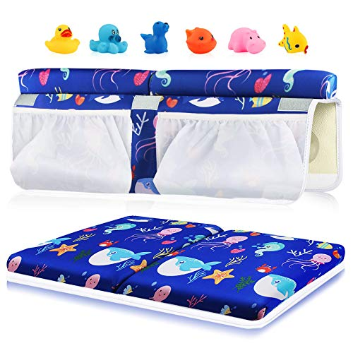 Bath Kneeler and Elbow Rest Set 15 inch Thick Kneeling Pad Elbow Support for Knee Arm Support Large Bathtub Kneeling Mat with Pockets Organizer 6 Toys for Happy Baby Bathing Time Blue