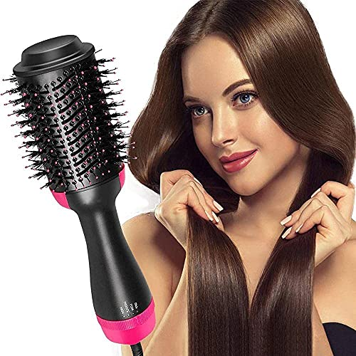 CABINULS Hot Air Brush, One-Step Hair Dryer, and Volumizer Styler, Professional 2-in-1 Salon Negative Ion Ceramic Electric Blow Rotating Straightener and Curly Comb with Anti-Scald, Black