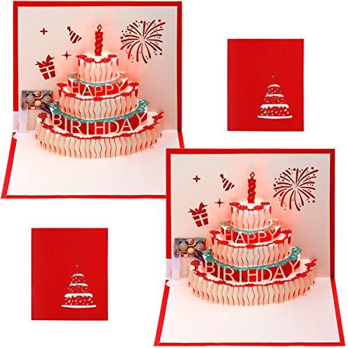 2 Stück 3D Pop Up Grußkarten LED-Licht Happy Birthday Musikkarte 3D Geburtstag Pop Up Karten 3D Grußkarte mit Umschlag für Kinder Erwachsene