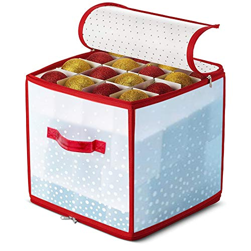 Alecony Weihnachtskugeln Aufbewahrungsbox, 64 Kugeln Weihnachten Ornament Christbaumkugel Box mit Reißverschluss und Griff, Weihnachtsschmuck Baumschmuck Aufhänger Aufbewahrung Organisation (B)