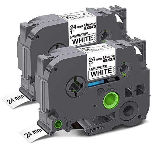 "Unismar Compatible Label Tape Replacement for Brother PT TZe-251 TZ 251 TZe251 Tz 24mm 0.94 Laminated White Tape Use for PT-D600 PT-P700 PT-2430PC PT-D600VP PT-D800W PT-P900W, 1"" x 26.2', 2-Pack"