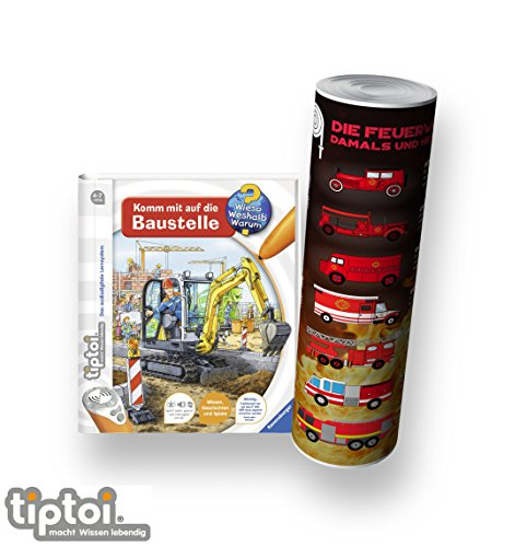tiptoi Ravensburger Buch Wieso? Weshalb? Warum? 4-7 | Komm mit auf die Baustelle + Kinder Feuerwehr Auto Poster