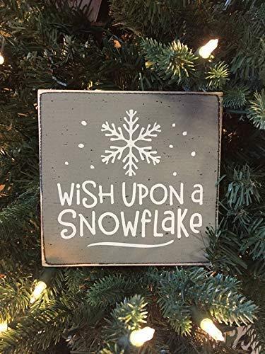 Brooer2ick Wish Upon A Snowflake - Mini Cartel de Navidad para estantería, decoración de Invierno, rústico, decoración navideña, decoración navideña, Mini Letrero de Madera