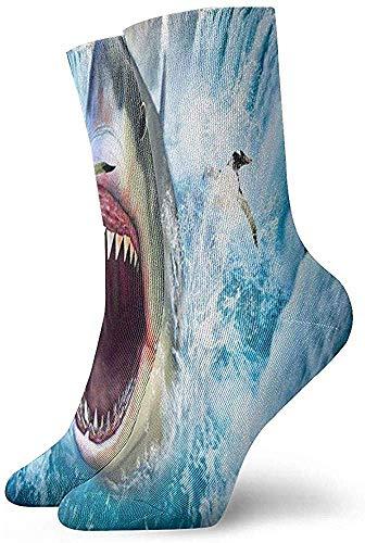 hdyefe Halloween Cosplay Socke, Lustige Socken, Casual Crew Socken, Damen/Herren Sportsocken, Custom Neuheit Socken, Cool Shark Penguin Tube Socken Klassische Socken 30CM Fußball Socken