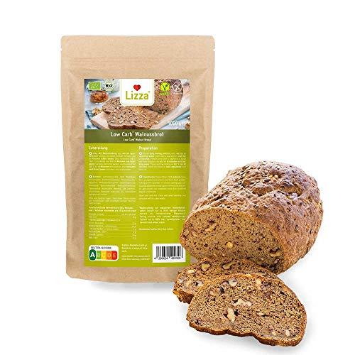 Lizza Low Carb Walnussbrot Backmischung 1kg | 89% weniger Kohlenhydrate | 100% Bio, Glutenfrei & Vegan | Keto-, Atkins- & Diabetiker-freundlich | Protein- & Ballaststoffreich | Frühstück für 2 Wochen
