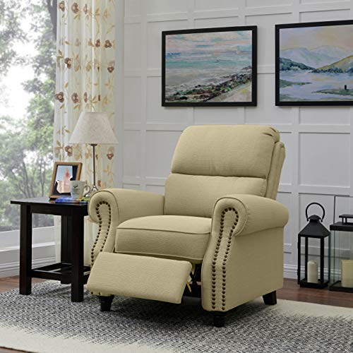Domesis Cortez - Linen Push Back Recliner Chair, Barley Tan