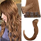 45cm - Capelli Veri Extension Clip 8 Pezzi 18 Clips 70g Remy Human Hair Clip in Extension Testa Piena Capelli Naturali - 30 Castano Ramato Chiaro