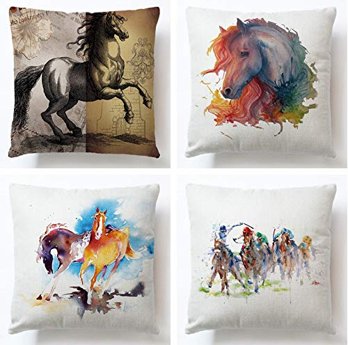 JgZATOA Graffiti Horse Cushion Cover Living Room Sofa Couch Bed Pillowcases Office Cushion 45Cm X 45Cm Set Of 4
