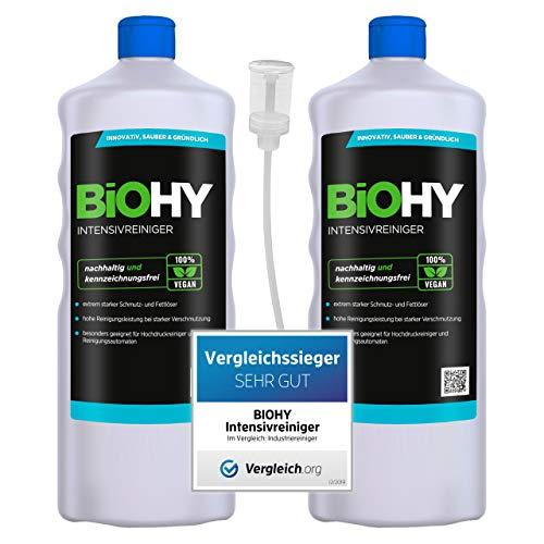 BiOHY Limpiador intensivo (2 botellas de 1 litro) + Dosificador | Limpiador industrial de alto rendimiento | Limpiador básico ideal para limpiadores de alta presión (Intensivreiniger)