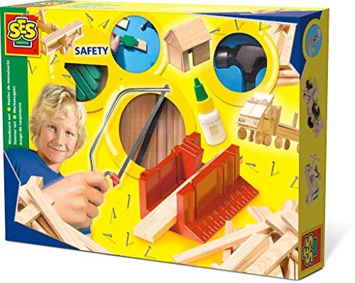 SES-Creative- Hobby e creatività attività Istruttivo ed educativo Giochi in Legno Passatempi Costruzioni Set di Falegnameria per Bambini SES De Luxe, 944