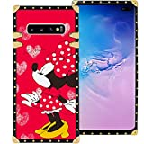 DISNEY COLLECTION Samsung Galaxy S10+ S10 Plus 6.4 Inch 2019 Luxury Square Phone Case Minnie Mouse Kiss Red Cover Metal Decoration Corners Precision Cutouts Shockproof Shell
