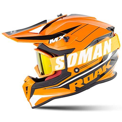 OD-B Motocross Motorradhelm Helm Mit Brille, Moto Cross Motorrad Helme Sturzhelm Erwachsene Downhill Fullface Enduro ATV Quad Offroad Helme Integralhelm ECE-Zertifizierung Für Männer Frauen,Orange,XL