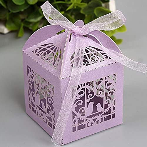 zorpia 50pcs Laser Cut Birdcage Wedding Favor Box Candy Box Baby Shower Box Wedding Favors and Gifts Box Bomboniere with Ribbons Bridal Shower Wedding Party Favors ZRA0168951(Lavender)