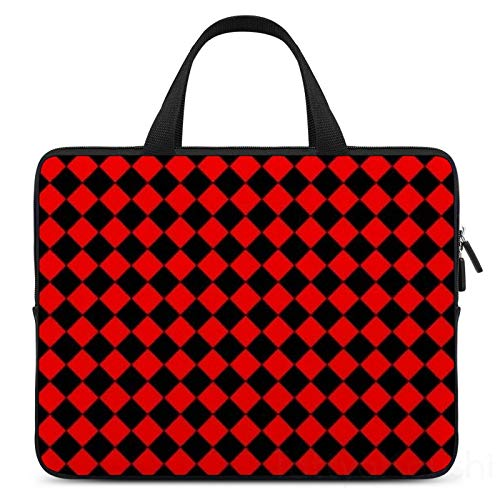 Laptop Sleeve Bag Compatible with 12 Inch MacBook Pro, MacBook Air, Notebook Computer, Water Repellent Polyester Vertical Protective Case Cover, Red and Black Checkered Pattern Check Print