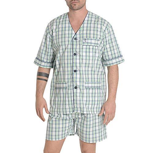 El Búho Nocturno Pijama de Caballero de Manga Corta y Chaqueta a Botones clásico a Cuadros de Tela popelín para Hombre XL Verde y Blanco