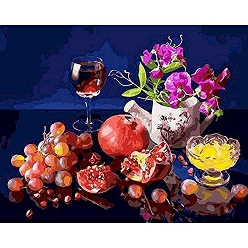 ZXDA Frameless Pintura al óleo por números para Adultos Vino Rosado Imagen por número Decoración del hogar Pintura al óleo Pintada a Mano A7 50x65cm
