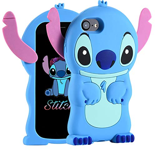 FINDWORLD Cases for iPhone 5S 5C 5 SE Case, Lilo Stitch Cute 3D Cartoon Unique Soft Silicone Animal Rubber Character Shockproof Anti-Bump Protector Boys Kids Girls Gifts Cover for iPhone 5S/5/5C/S