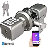 TURBOLOCK TL-111 PRO Smart Door Lock | Send eKeys w/App | Keypad Door Knob-Styled Keyless Entry | Digital Security w/Backup Keys & Emergency Power Port (Brush Nickel)
