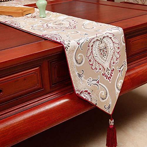 ZXL Europese tafelloper, prachtige jacquard tafelkleed, randontwerp, bruiloftsfeest met kwastdecoratie | Fotografie | Verjaardag (kleur: rode rijst, afmeting: 33x150cm)