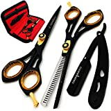 Saaqaans Professional Barber Shears Kit Tools - Hair Cutting Scissors Set for Hairdresser/Hair Salon + Thinning/Texture Hairdressing Haircut Shear for Beautician + Straight Razor + 10 Blades with Case