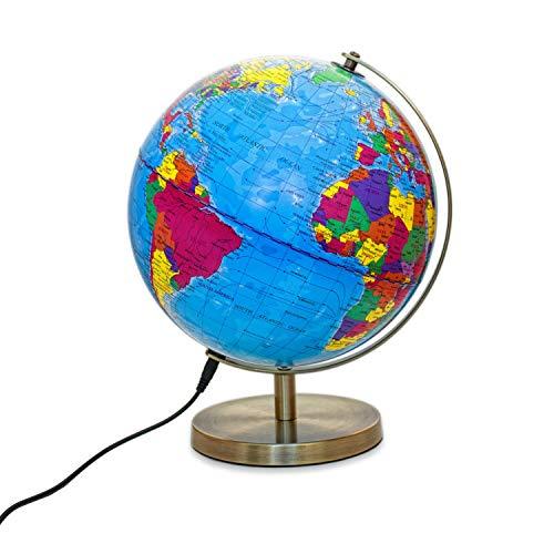 Magellan Albion Leuchtglobus politisches Kartenbild LED-Beleuchtung 25 cm Globus mit messingfarbenem Metallfuß und Meridian inklusive Kabel und USB-Netzteil politisches Kartenbild 25 cm