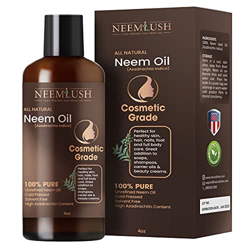 Organic Neem Oil - Hair & Nails - 100% Pure Neem Oil - Neem Lush Ultimate Luxury Neem Oil Extract - Cold Pressed Neem Oil - Purest Neem Essential Oil & Oil Concentrate (4 Fl Oz)