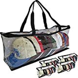 Evelots Sport Cap Bag-Extra large-20 Hats-Trucker Style-Clear-Handles- Set/4