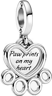 TopLAD Hearts & Paw Print Dangle Charm fits Pandora Charm Bracelets 925 Silver DIY Fashion Jewellery