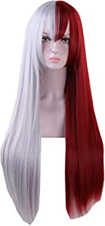 Anime 80cm Long Straight Red Silver White Cosplay Wig Women Girls' Party Wigs for Christmas Halloween
