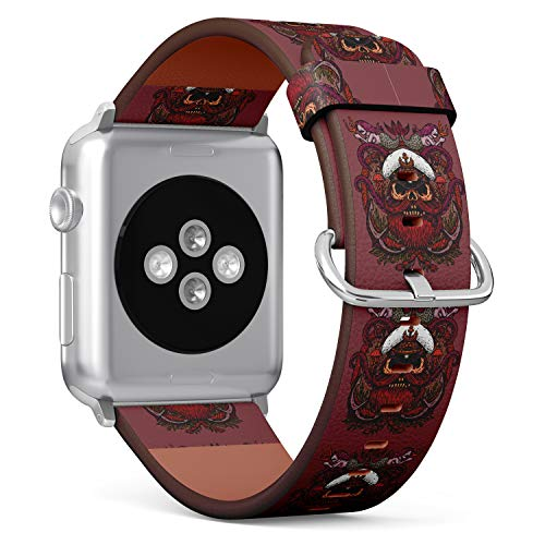 R-Rong kompatibel Watch Armband, Echtes Leder Uhrenarmband f¨¹r Apple Watch Series 4/3/2/1 Sport Edition 42/44mm - Captain Skull with Tentacles of Octopus and Mermaids