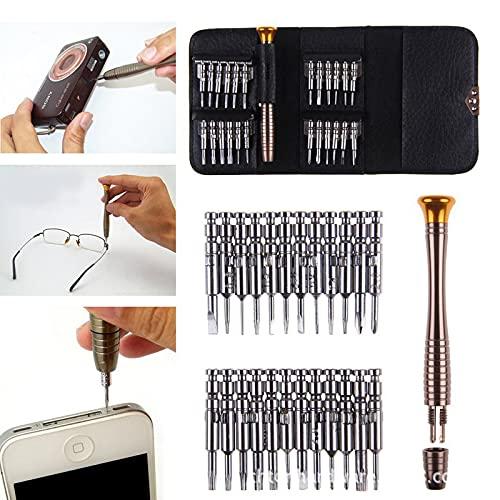 Juego de herramientas de destornillador 25 en 1, mini juego de herramientas de destornillador de puntas magnéticas con billetera de cuero, destornillador multifunción para teléfono móvil (2 Sets)