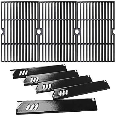 Utheer Grill Parts Heat Plates 15 Inch Cast Iron Grid Grates 16-1/4 inch for Backyard BY13-101-001-13 BY12-084-029-98, Dyna-Glo DGF510SBP DGF510SSP DGF510SSP-D, Uniflame GBC1059WB GBC1059WE-C, BHG