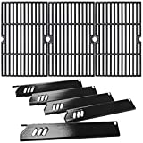 Utheer Grill Parts for DynaGlo DGF510SBP, DGF510SSP, DGF510SSP-D, 15 inch Heat Plates and 16-1/4 inch Cast Iron Grid Grates for Backyard BY13-101-001-13 BY12-084-029-98, GBC1460W, GBC1461W, GBC1462W