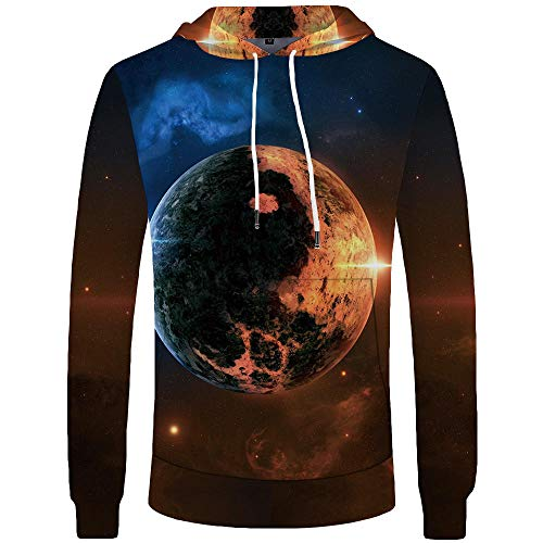 Blue and White Reflections Giacca Sportiva Casual Stampata Digitale Maglione 3D Con Cappuccio, Galassia, Via lattea, Universo e Terra Maglione 3D Color_2XL